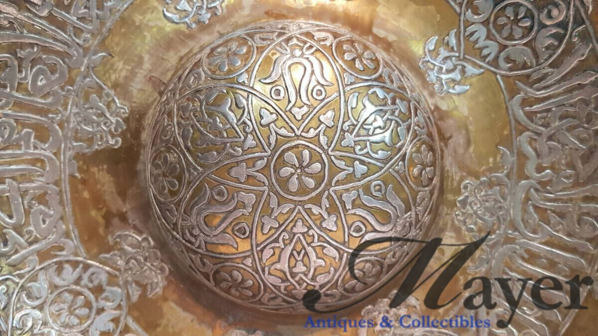 Ottoman bronze and silver inlay tray