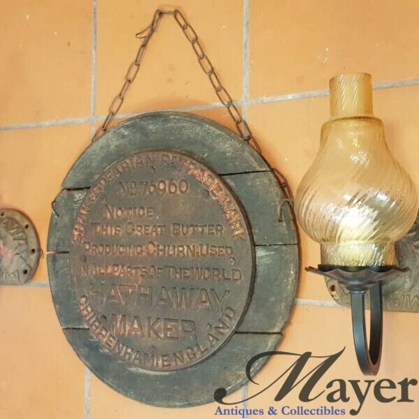 Hathaway maker cast iron sign and lights