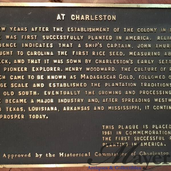 Charleston South Carolina Rice History Commemorative Plaque