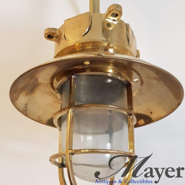 Hanging Nautical Brass Lamp From Rod