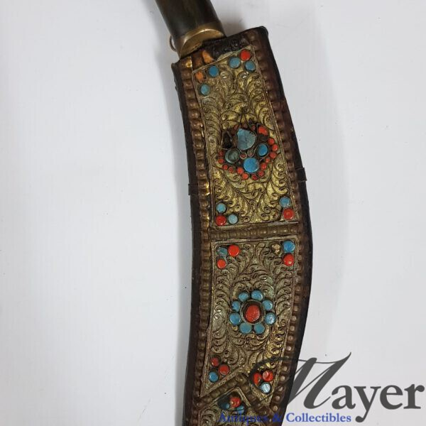 Nepalese Kukri Dagger With Bead Decorated Scabbard