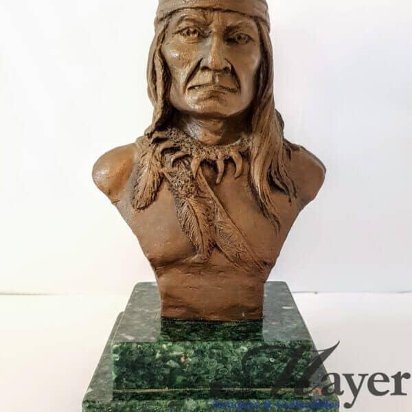 Native American Warrior Bronze Bust Sculpture