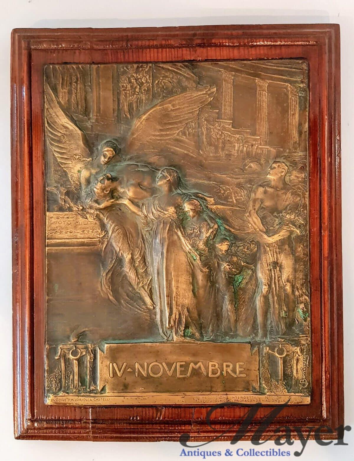 November 4th WW1 Memorial Plaque By Egidio Boninsegna