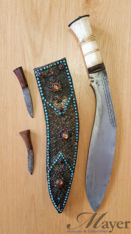 Antique Nepalese Kukri Knife With Bone Handle