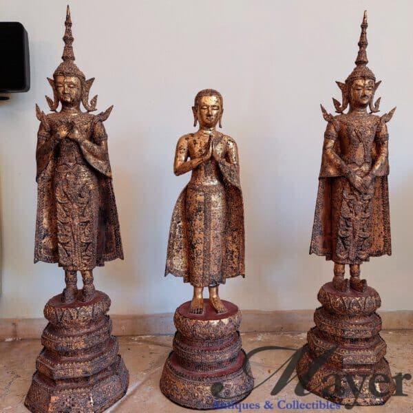 Three Thai Thephanom Statues Set