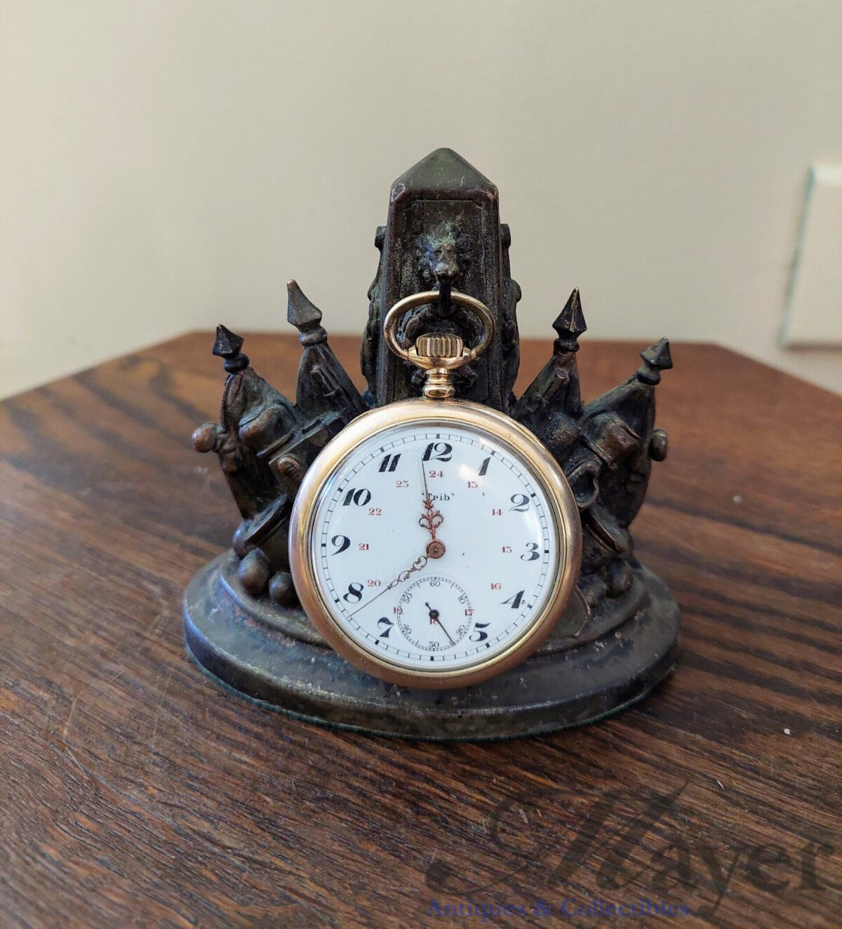French Trib pocket watch and a Prussian display stand commemorating the Franco-Prussian War of 1870-1871